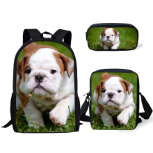 HaoYun Kids Primary Backpack Little Bulldogs Pattern School Book Bags Kawaii Animal Designer 3PC/Set Students