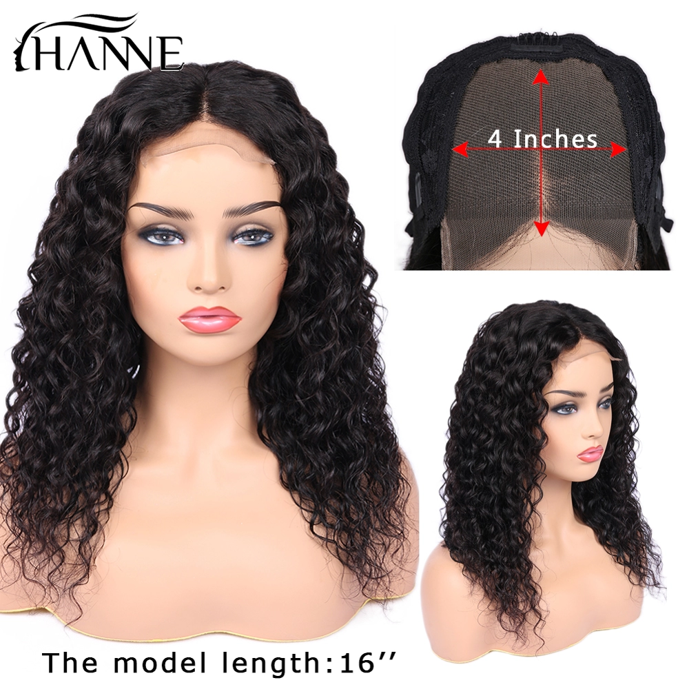 Water Wave 4*4 Brazilian Remy Human Closure Wig Lace Closure Human Hair Middle Part Wig Glueless Wigs For Women HANNE Hair
