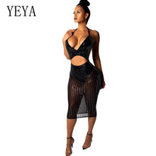 YEYA Women Sexy Backless Sequins Transparent Dress Ladies Bandage Bodycon Sleeveless Party Cocktail Club See Through Slim