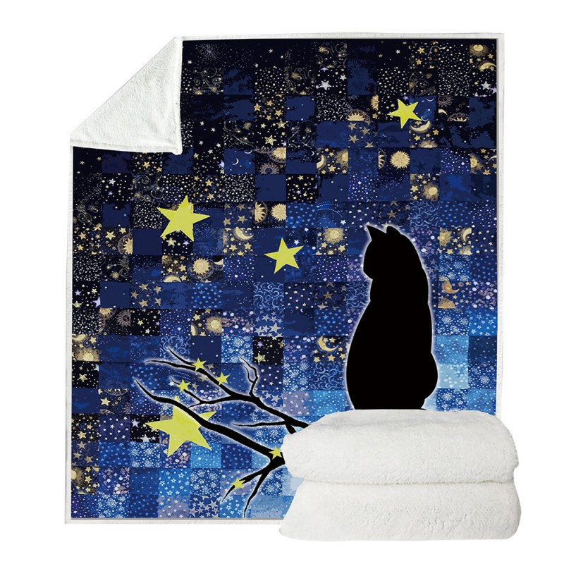 Double Side Blanket Outdoor Animal Themed Sherpa Fleece Throw Blanket For Bed Couch Sofa Kids Adults All Season