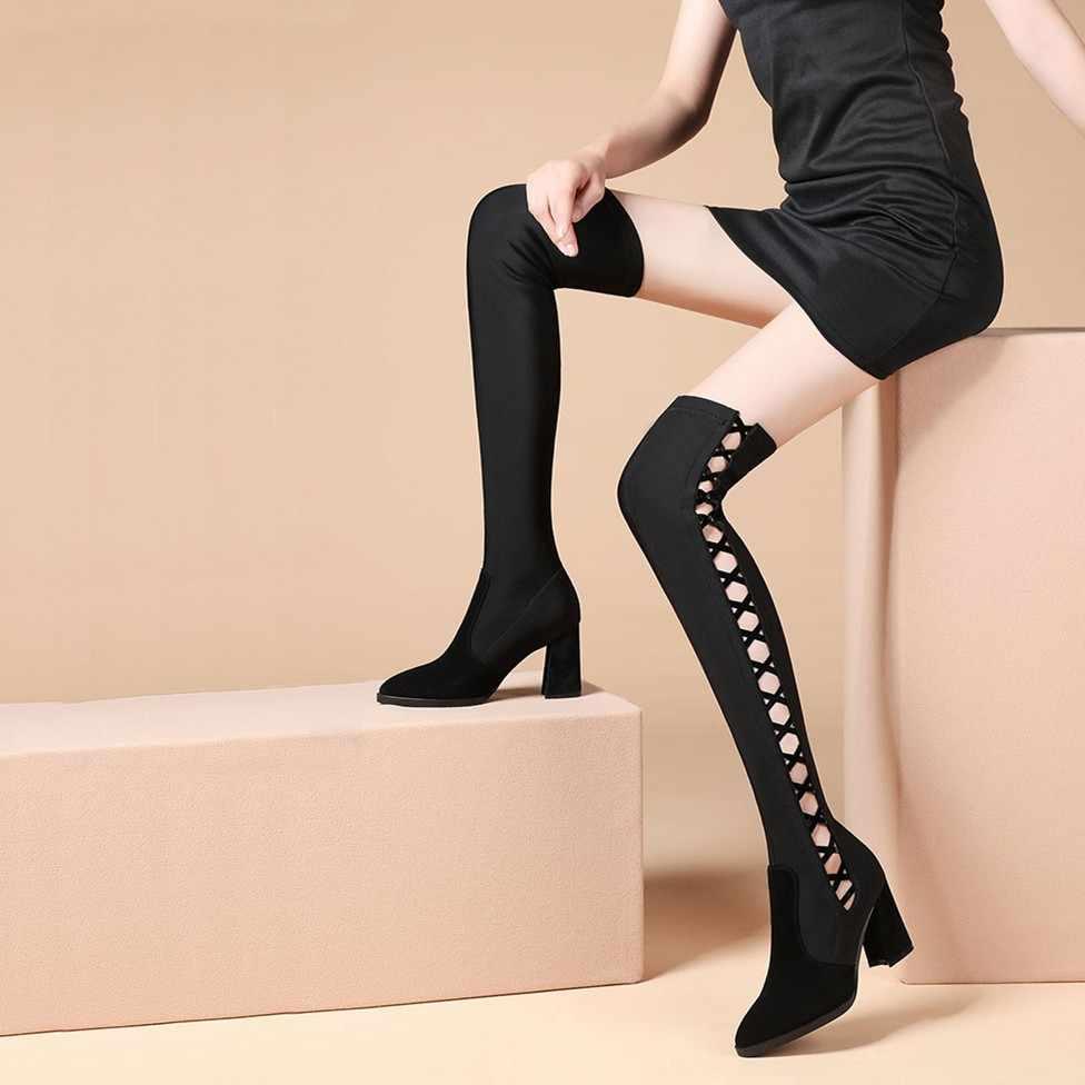 Đen Rỗng Giày Bốt Nữ Trên Đầu Gối Cao Cấp Chặt Nữ Co Giãn Giày Mùa Đông Dày Với Đồ Lọt Khe Gợi Cảm giày Nữ