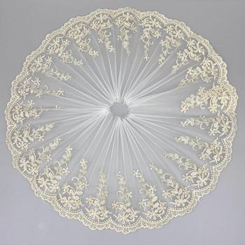1Yards Latest Laces Wedding Lace Fabric Gold Bridal Dress 19cm Mesh Ribbon Sewing Embroidery Trim encajes QA5
