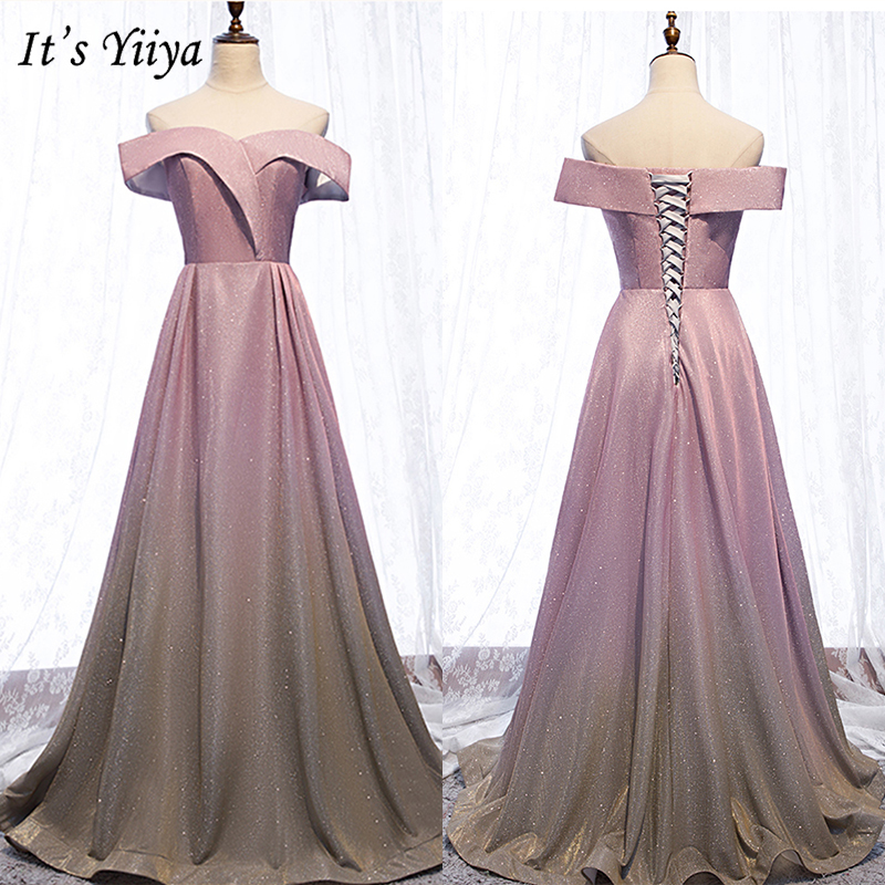 It's Yiiya Evening Dress 2019 Elegant Boat Neck Off Shoulder Party Formal Gown Contrast Color A-Line Floor Length Plus Size E997