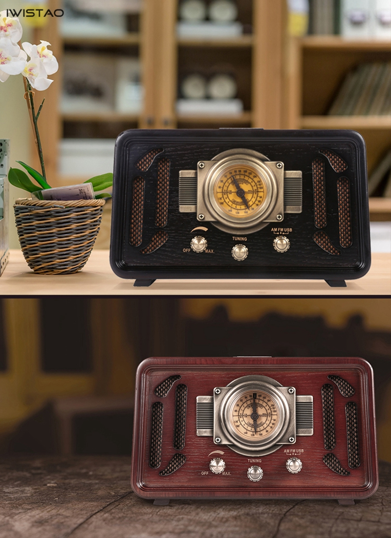 Image 5 - Retro Wooden HIFI Radio AM/FM 2x5W Desktop Speakers Rotary Tuning Support Bluetooth U Disk SD Card PlayingRadio   -
