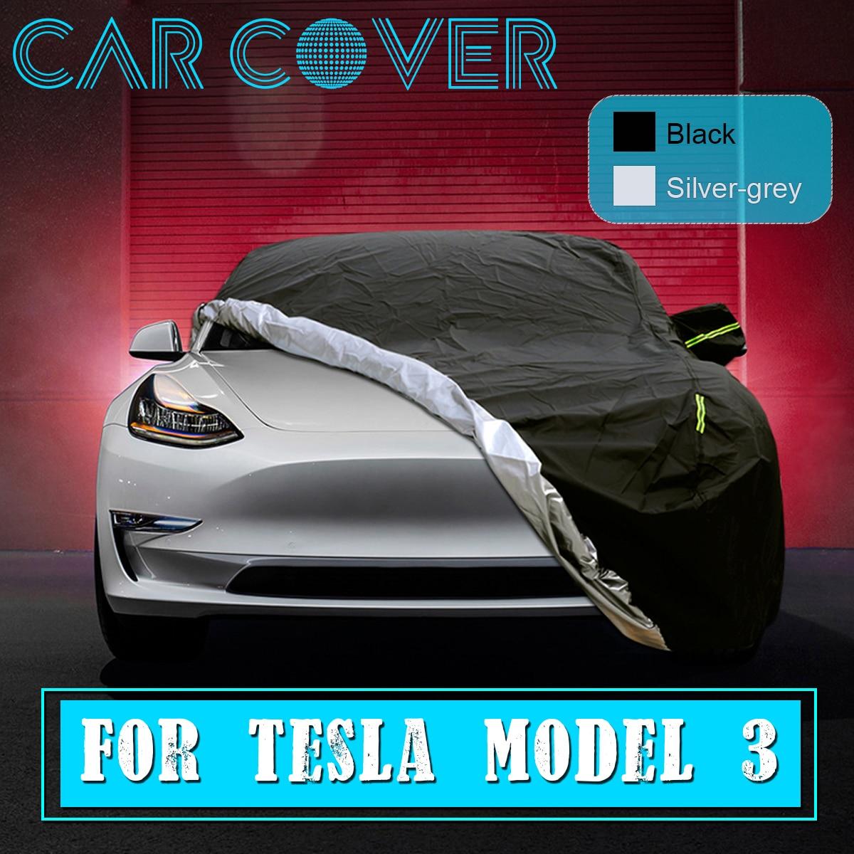 Черный/серебристо серый дышащая водонепроницаемая ткань Оксфорд автомобильный чехол зеркальный карман полная защита автомобиля чехлы для Tesla модель 3|Автомобильные чехлы|   | АлиЭкспресс