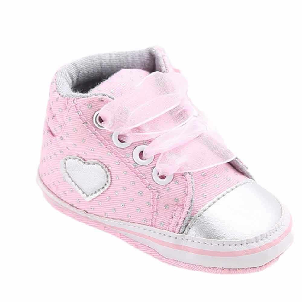 Heißer Verkauf 2019 Baby Mädchen Leinwand Schuh Herz form Schuhe Sneaker Anti-slip Weiche Sohle Kleinkind Baby Schuhe Erste wanderer Lace-up Stiefel