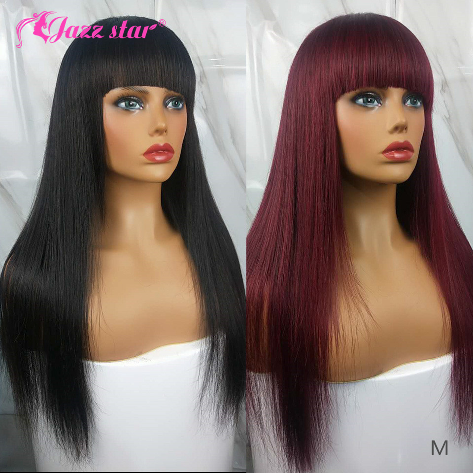 Brazilian Straight Human Hair Wigs With Bangs 99J Burgundy Hair Machine Made Wig Cheap Human Hair Wigs 150% Density Jazz Star