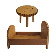 Desk-Kit Baby Table-Set Wooden Photo-Shooting Newborn Mini Bed 2pcs Cookie-Crib Bedside