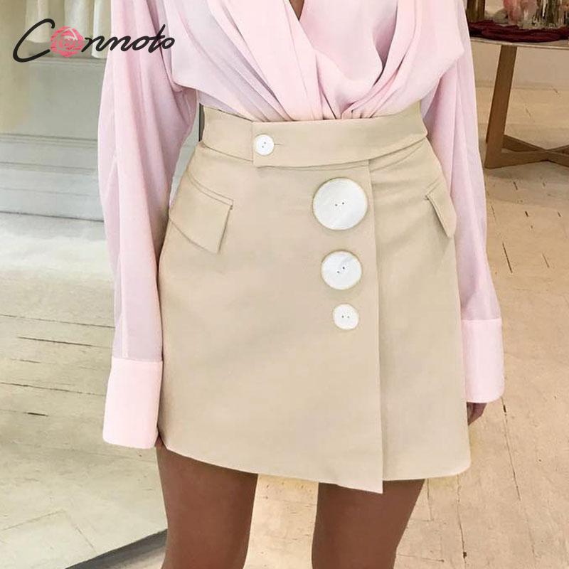 Conmoto Women Fashion Short Skirts 2019 Autumn Winter Female Apricot Sexy Short Mini Skirt Ladies Beautiful Shell Button Skirts