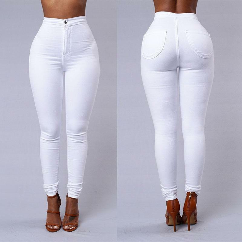 Meihuida Women High Waist Full Length Stretch Skinny Slim Trousers Office Lady Solid Daily Casual Pencil Pants