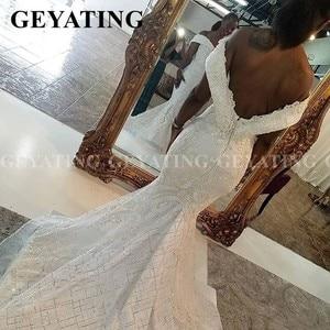 Image 5 - 2020 luxus Off Schulter Spitze Meerjungfrau Afrikanische Hochzeit Kleid mit Abnehmbaren Zug Plus Größe Backless Nigerian Frauen Brautkleider