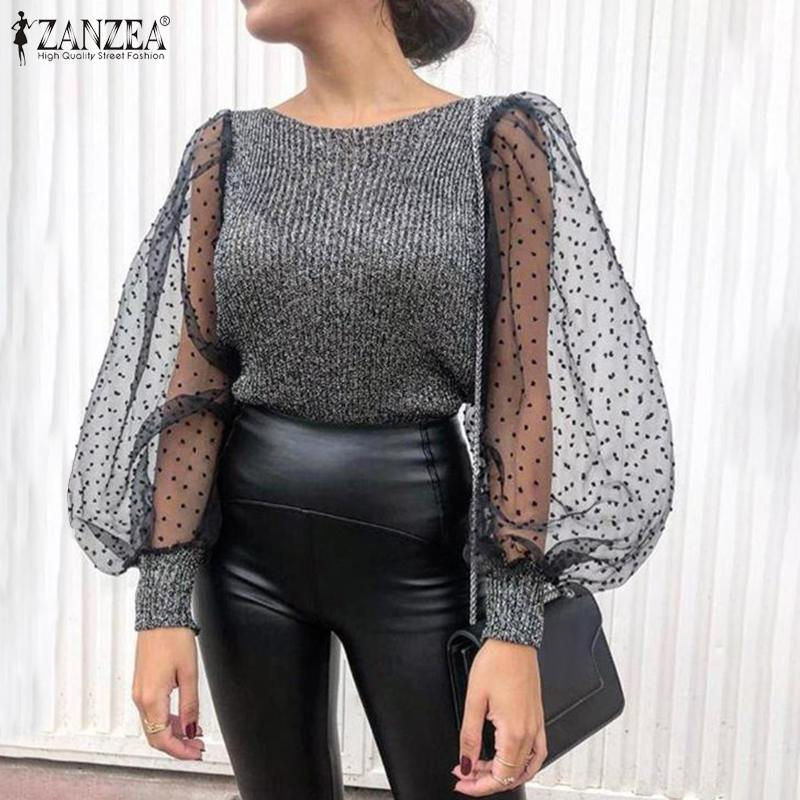 2020 Sexy Women Patchwork Mesh Puff Sleeve Tunic Tops Blusas ZANZEA Office Work Chic OL Shirt Womens Knitted Blouses Plus Size