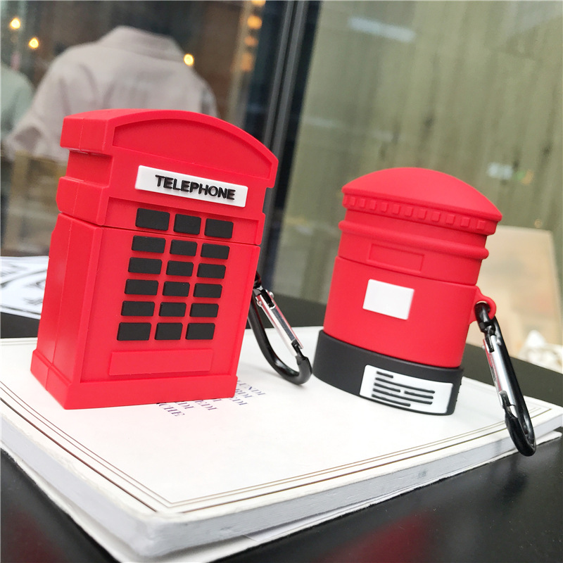 Cute Case for AirPods 1 2 Silicone Bluetooth Earphone Case Cartoon Protective Cover Stereoscopic Telephone Booth Postbox Design