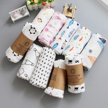 Muslin Blanket 100% Cotton Baby Swaddles 120*120cm Soft Newborn Blankets Bath Gauze Infant Kids Wrap Sleepsack Stroller Cover 1