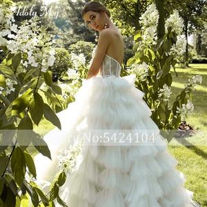 Image 5 - ロマンチックな恋人のネックアップリケ花嫁夜会服のウェディングドレス 2020 高級レースビーズのティアード裁判所の列車の王女の花嫁衣装