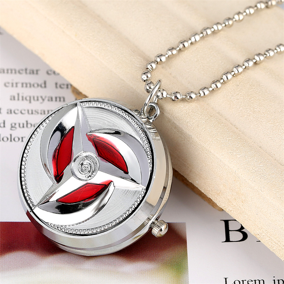 Naruto Ultimate Ninja Pocket Watch For Girls Rotating Case Gold Dial Necklace Pendant Watch Gift For Chrildren Drop Shipping