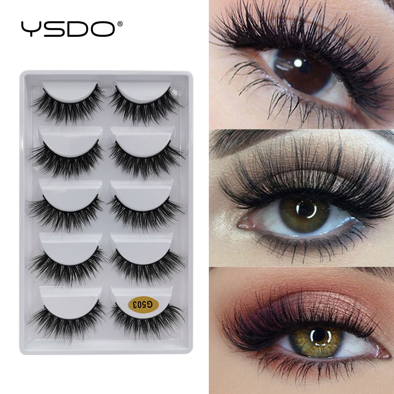 YDSO Winged 5 Pairs False EyeLashes Faux 3D Mink Natural Hair Fake EyeLashes Dramatic MakeupLashes Faux Cilios Fluffy Lashes