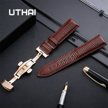 Uthai z29 pulseira de couro genuíno 14mm 16mm 18mm 20mm 22mm borboleta fivela banda fivela de aço correia de pulso + ferramenta