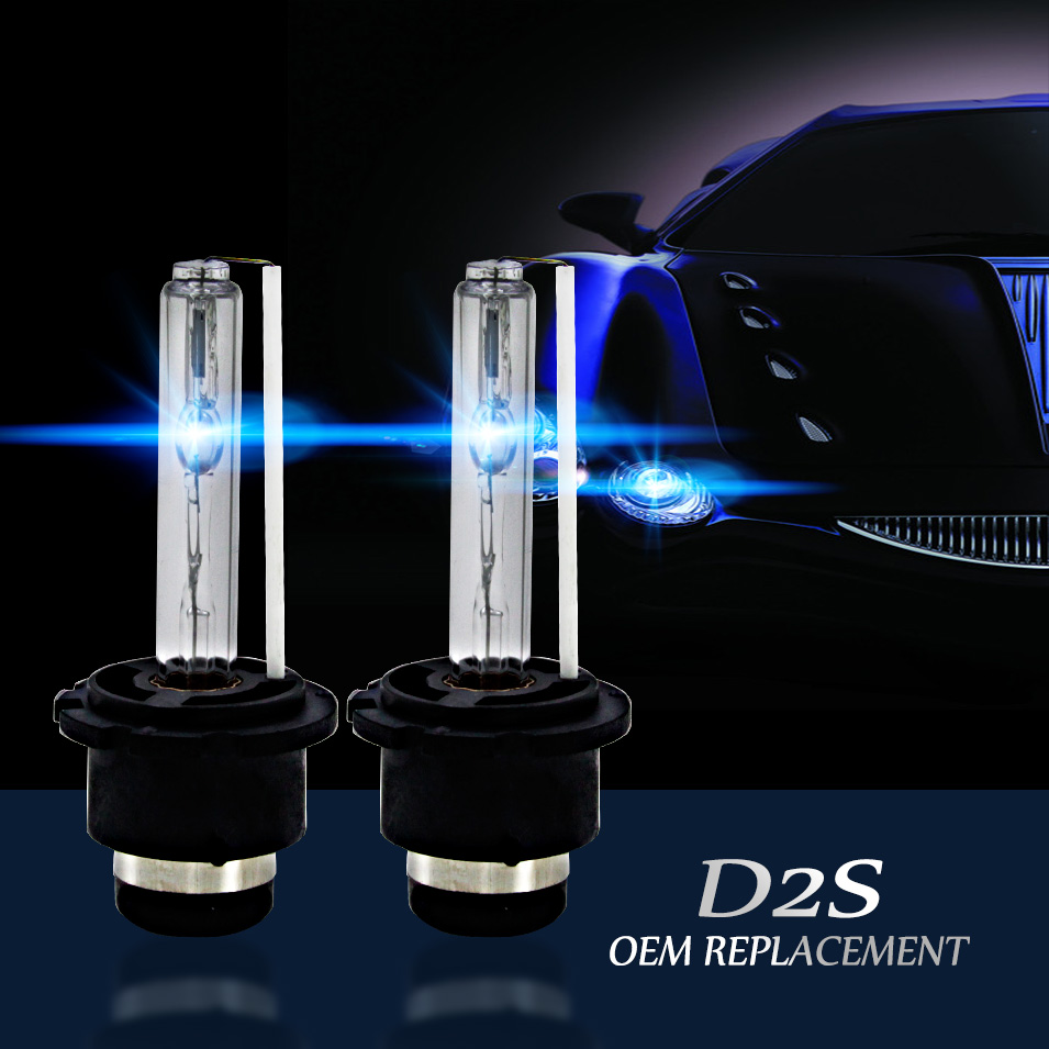 CARCTR 2 PCS Car Headlight Bulbs Xenon Headlamp HID <font><b>55W</b></font> <font><b>D2S</b></font> 3000K 4300K 5000K 6000K 8000K 10000K 12000K 15000K Car Headlight image