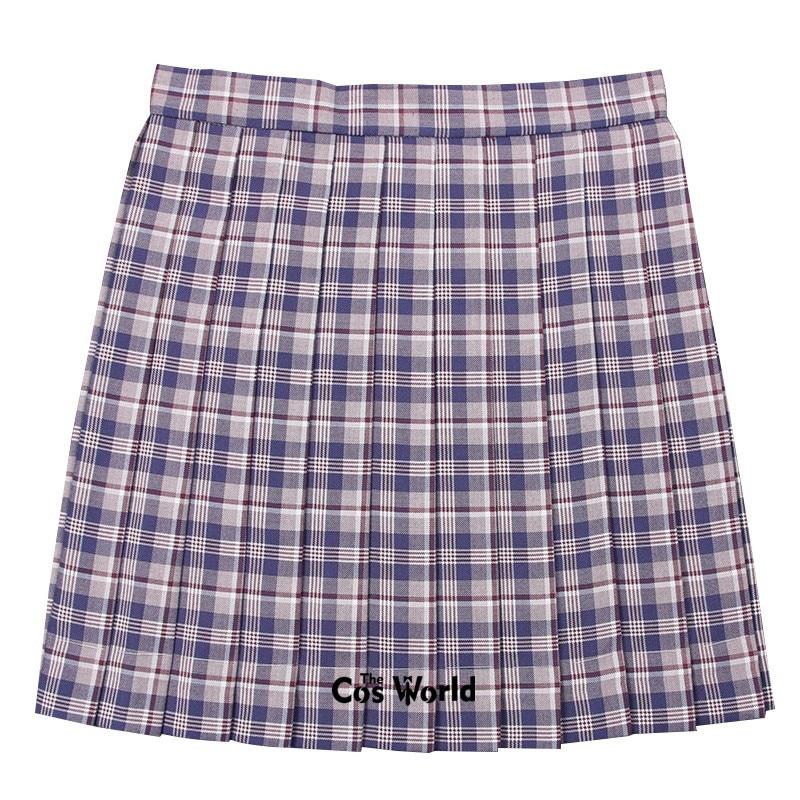 [Royalblue Red] Girl's Summer High Waist Pleated Skirts Plaid Skirts Women Dress For JK School Uniform Students Cloths