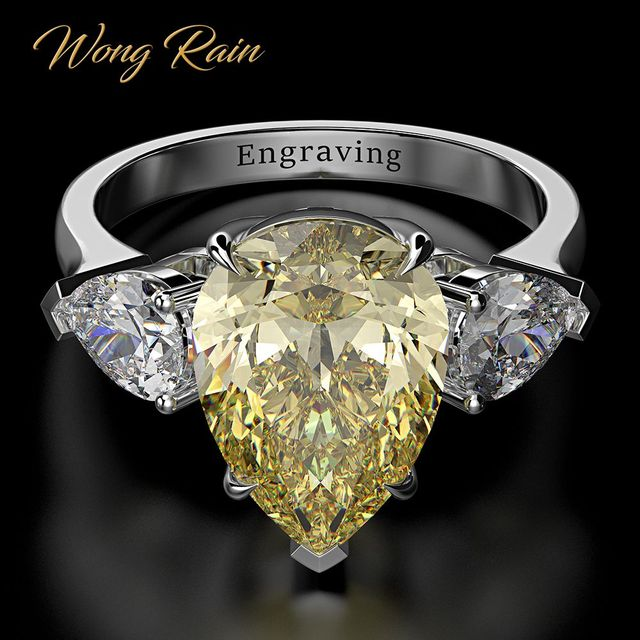 Wong Rain 100% 925 Sterling Silver Pear Created Moissanite Aquamarine Gemstone Wedding Engagement Ring Fine Jewelry Wholesale