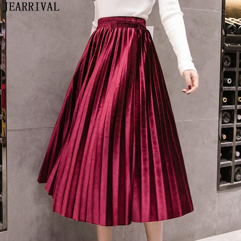 2019 Autumn Winter Velvet Long Skirt Elastic High Waist Big Swing Vintage Casual Pleated Skirts Metallic Color Plus Size Saia