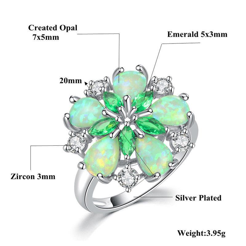 CiNily Mewah Hijau Api Opal Batu Cincin Besar Perak Disepuh Bunga - Perhiasan fesyen - Foto 5