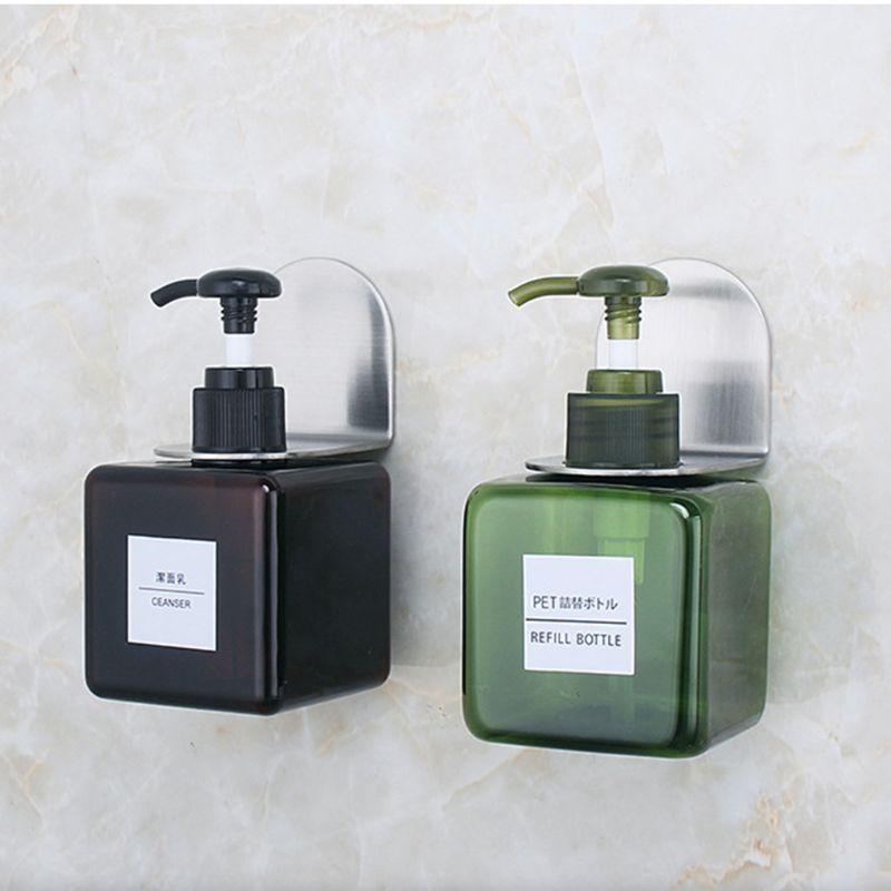 נירוסטה קיר הר סבון מקלחת ג 'ל Dispenser בקבוק מחזיק וו תליית קולב מתלה אמבטיה מטבח ארגונית לא תרגיל