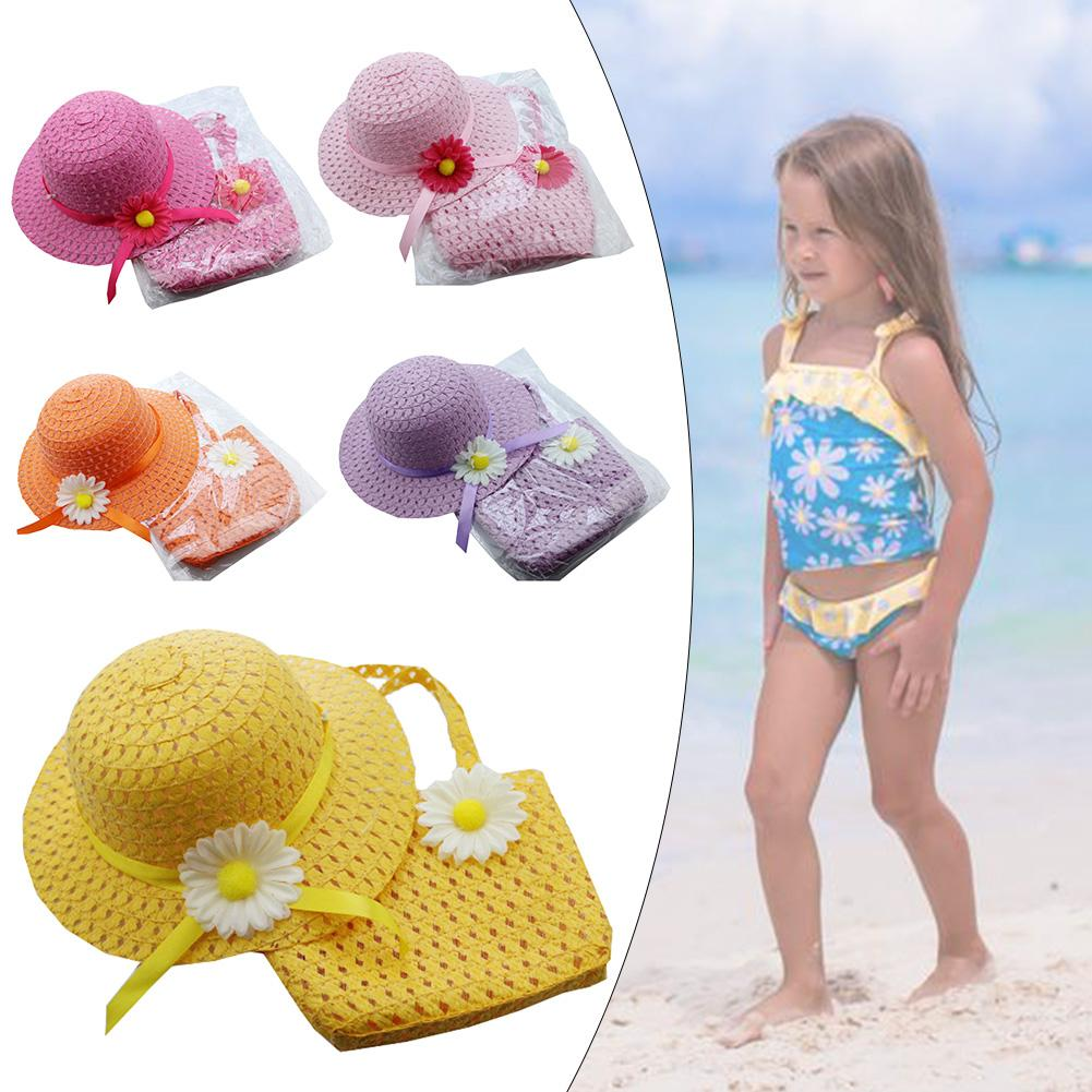 Flower Sun Straw Hat With Handbag Beach Suit Kid Girl Beach Hat Portable Summer Sun Cap Outdoor Riding Purse Sets With 2 Handles