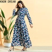 Knowdream fora do ombro vestido plissado saia longa com cintura e impressão grande vestido de verão