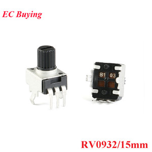 10pcs RV0932 Potentiometer Adjustable Handle 15MM Round Shaft Potentiometer 1K/102 5K/502 10K/103 50K/503 100K/104 WH09 0932(China)