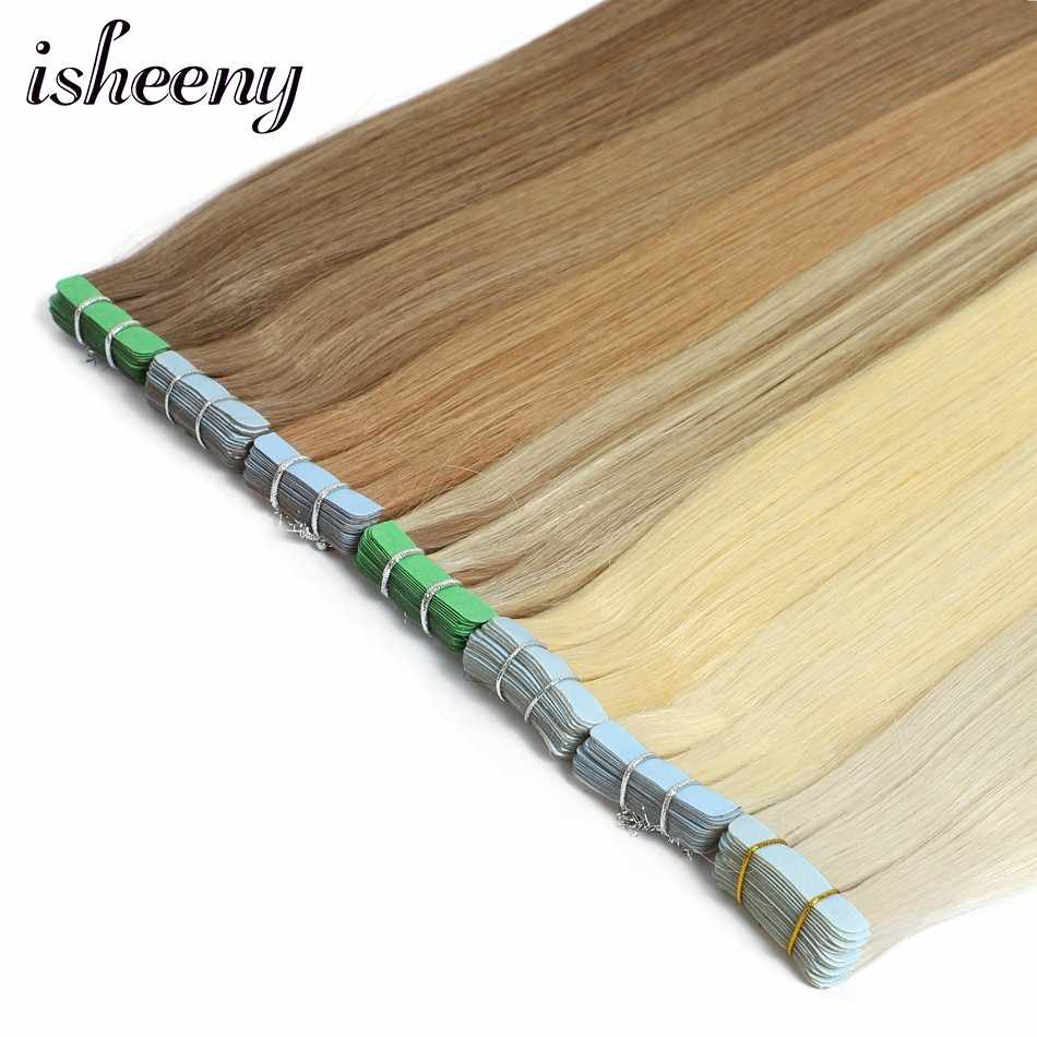 "Isheeny Remy Human Hair Tape Extensions Straight 12""-24"" Skin Weft Seamless Hair Extension Samples For Salon Hair Testing"