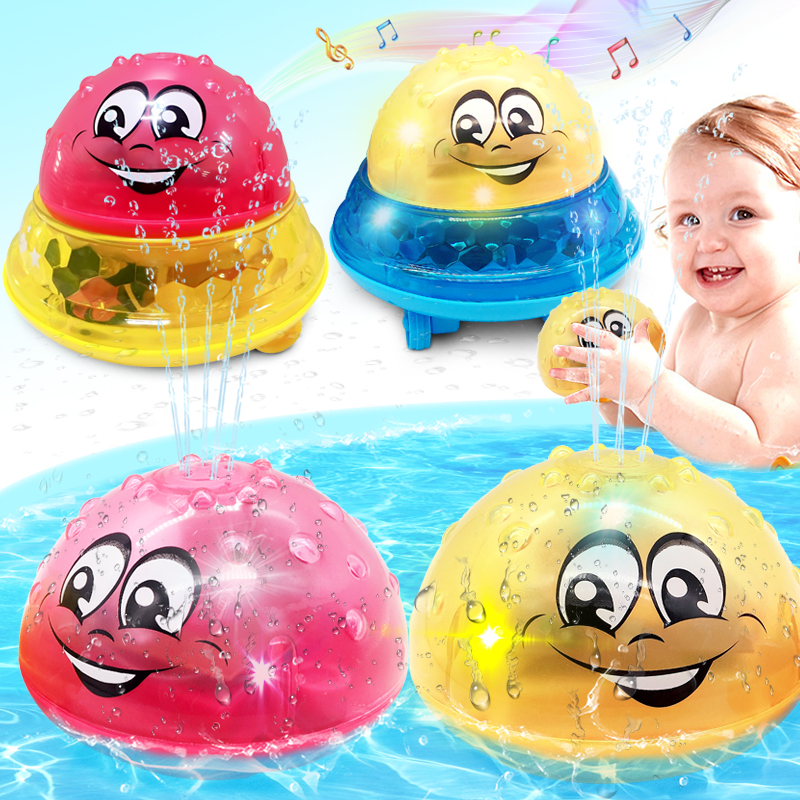 Summer Bath Toys Glow In The Dark Spray Water LED Light Rotate Toy for Baby Shower Game Kids Bathtub Accessories Swim Party Gift image