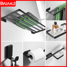 Towel Holder Black Double Towel Bar Stainless Steel Towel Rack Hanging Holder Coat Hook Bathroom Shelf Glass Toilet Paper Holder цена