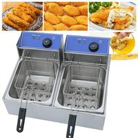 Commercial Electric Deep Fryer Double Tank Frying Basket 220V Chip Cooker 2X10L Stainless Steel Frying Machine UK Plug