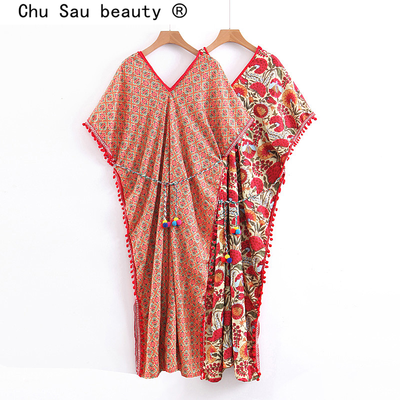 Chu Sau beauty Boho Chic Floral Printed Women's Loose Dresses Ethnic Sashes V-neck Tassel Holiday Wear Lady's Cloak style Dress