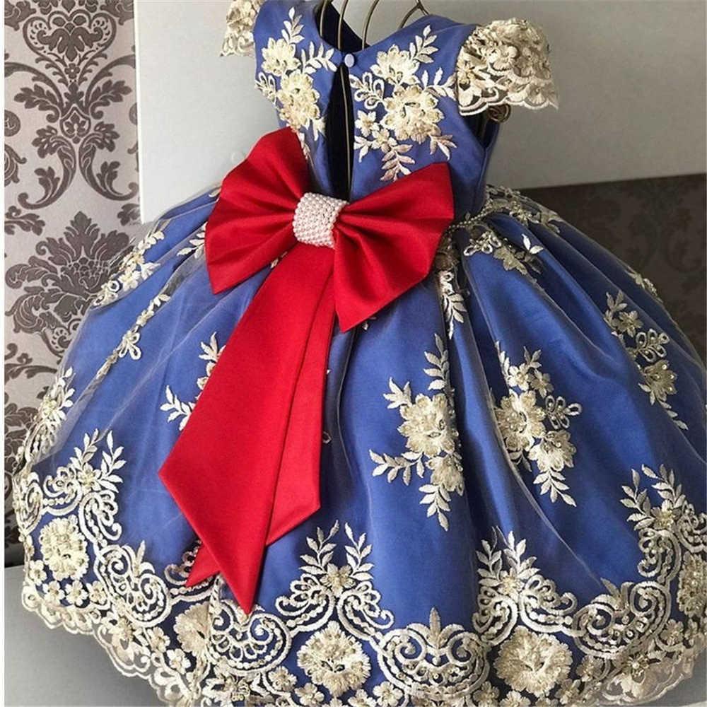 1-10Years ファンシー女の子プリンセス洗礼誕生日パーティードレス子供夜会服レース花幼児ウェディング結婚式ドレス