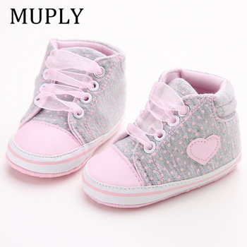 Infant Newborn Baby Girls Polka Dots Heart Autumn Lace-Up First Walkers Sneakers Shoes Toddler Classic Casual - discount item  44% OFF Baby Shoes