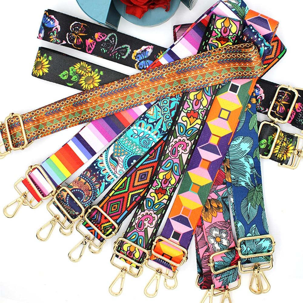 Nylon Cotton Bag Strap Woman Colored Straps for Crossbody Messenger Shoulder Bag Accessories Adjustable Embroidered Belts Straps