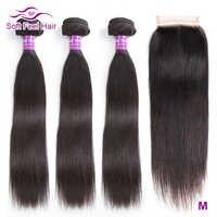 Soft Feel Hair Paquets de cheveux droits avec fermeture paquets de cheveux brésiliens avec fermeture paquets de cheveux humains Remy avec fermeture