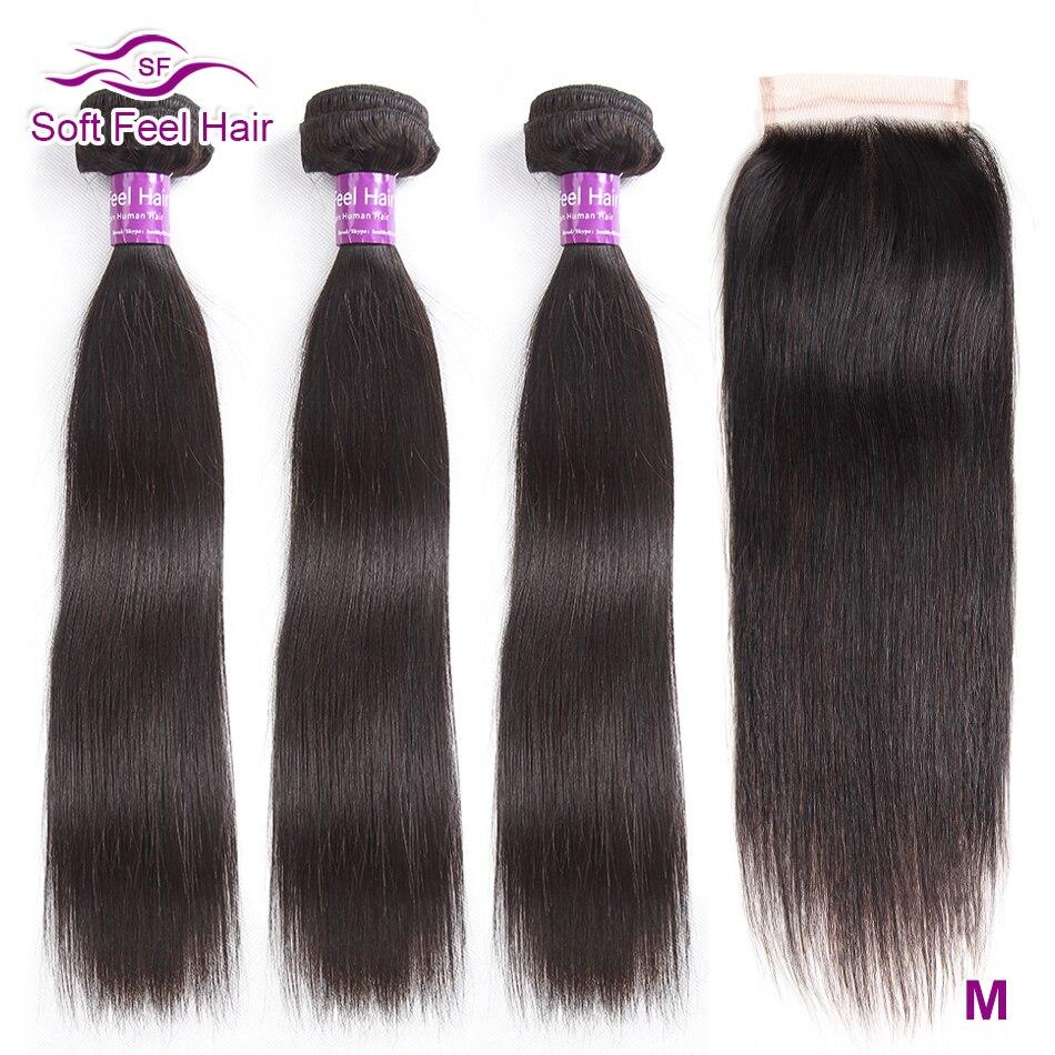 Soft Feel Hair Straight Hair Bundles With Closure Brazilian Hair Weave Bundles With Closure Remy Human Hair Bundles With Closure
