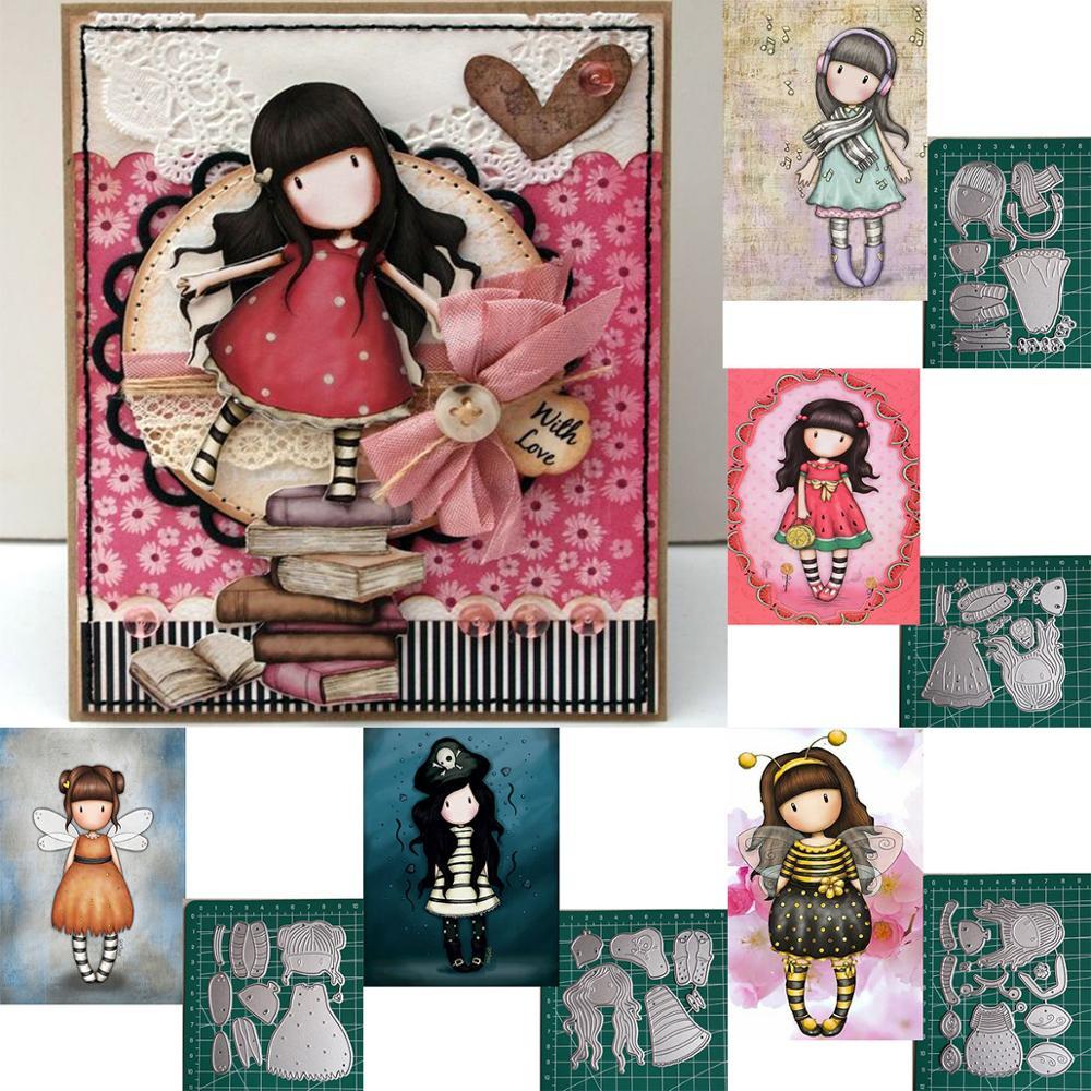 Metal Dies Cutting Frames Scrapbook Paper Punch Stanzschablonen Span Doll Girl Dies Art Decorations