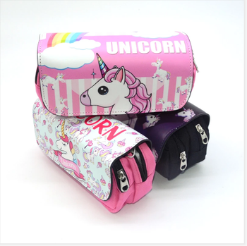 Unicorn cute pencil case large capacity pen case double zipper canvas school Pencil cases gifts for girls stationery box pen bag bag zipper pencil case twill canvas large pen box pencil bag for student school stationery supplies