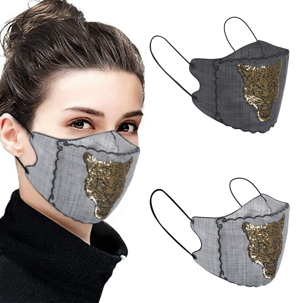 Silk Maske Women Sequined Patchwork Faceshields Can Put The Filters Adults Fashion Dustproof Face Maskswashable And Reusable