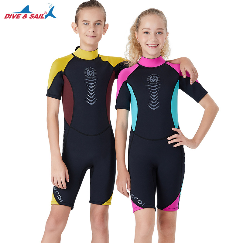 Elastic One Piece 2.5MM Neoprene Diving Suit for Teenagers Shorts Sleeve Warm Wetsuit Surfing Snorkeling Swimming Bathing Suits