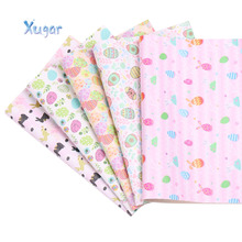 Xugar 22*30cm Easter Synthetic Leather Fabric Egg Printed Faux Leather Fabric  For DIY Hair Bows Accessories Handmade Bags Craft ahb synthetic leather glitter printed unicorn shiny fabric faux leather sheets diy hair bows fabric handmade crafts materials