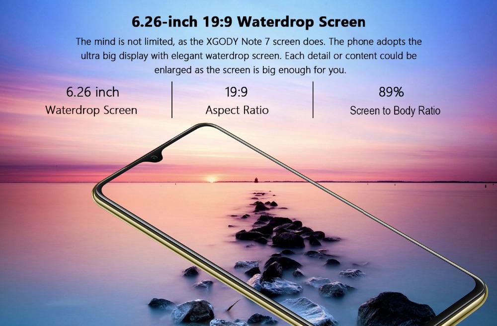 Xgody 3G teléfono móvil Note7 2GB 16GB Smartphone 6,26 14