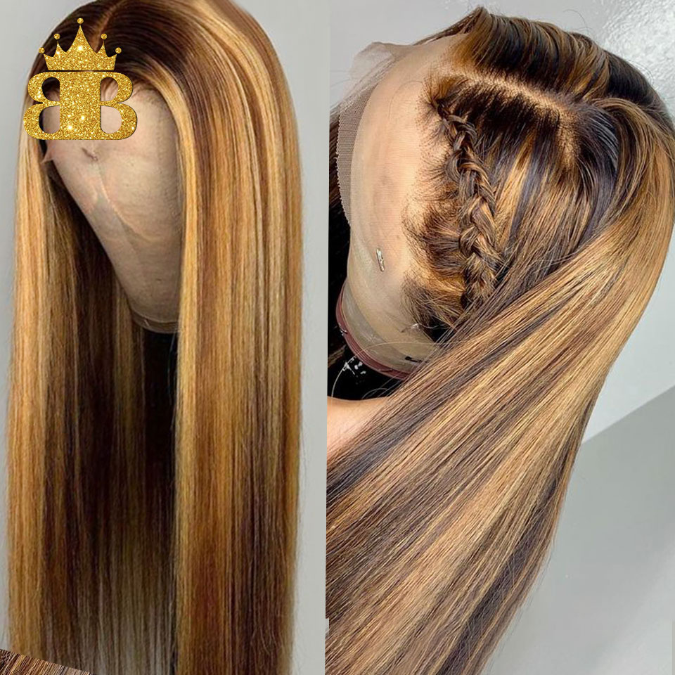 Human-Hair Wigs Highlight Honey-Blond Lace-Front Pre-Plucked Ombre-Color Invisible Straight title=