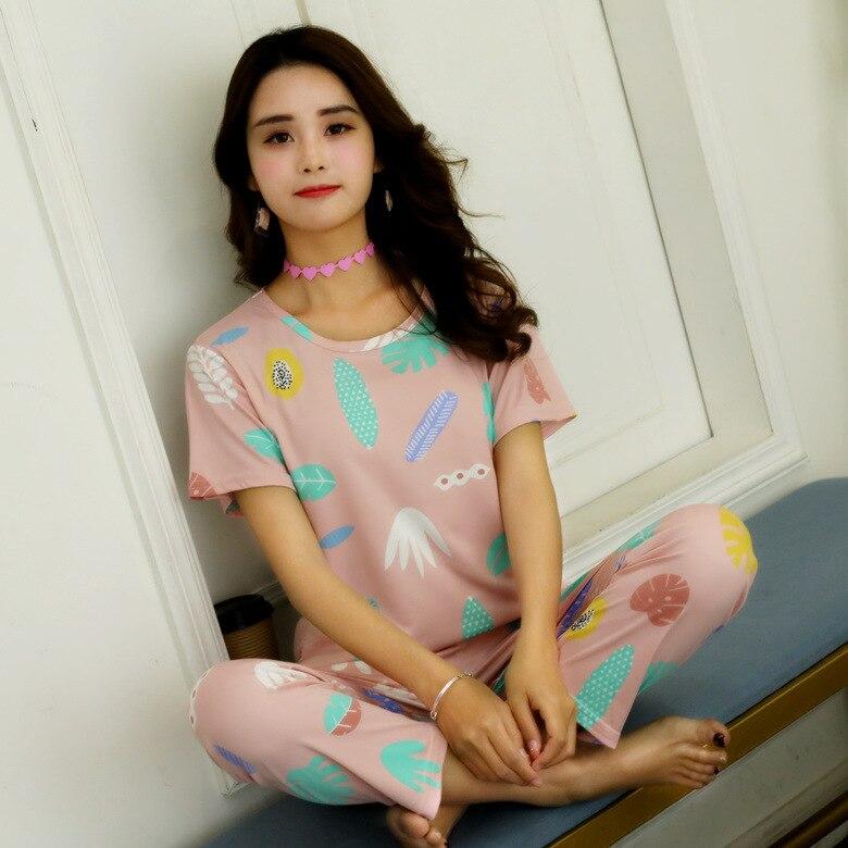 Summer Pajamas WOMEN'S Short Sleeved Trousers Set Powder Papaya M-XXL 170 Grams 2019 New Style