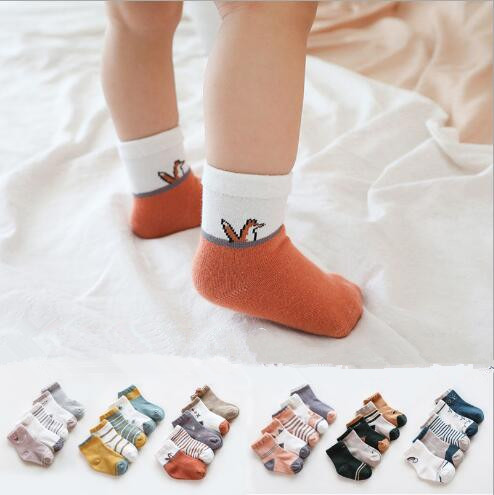 5Pairs/lot Spring And Autumn New Baby  Tube Socks Combed Cotton Cartoon  Loose Mouth Infant Newborn Animal Stripe Socks